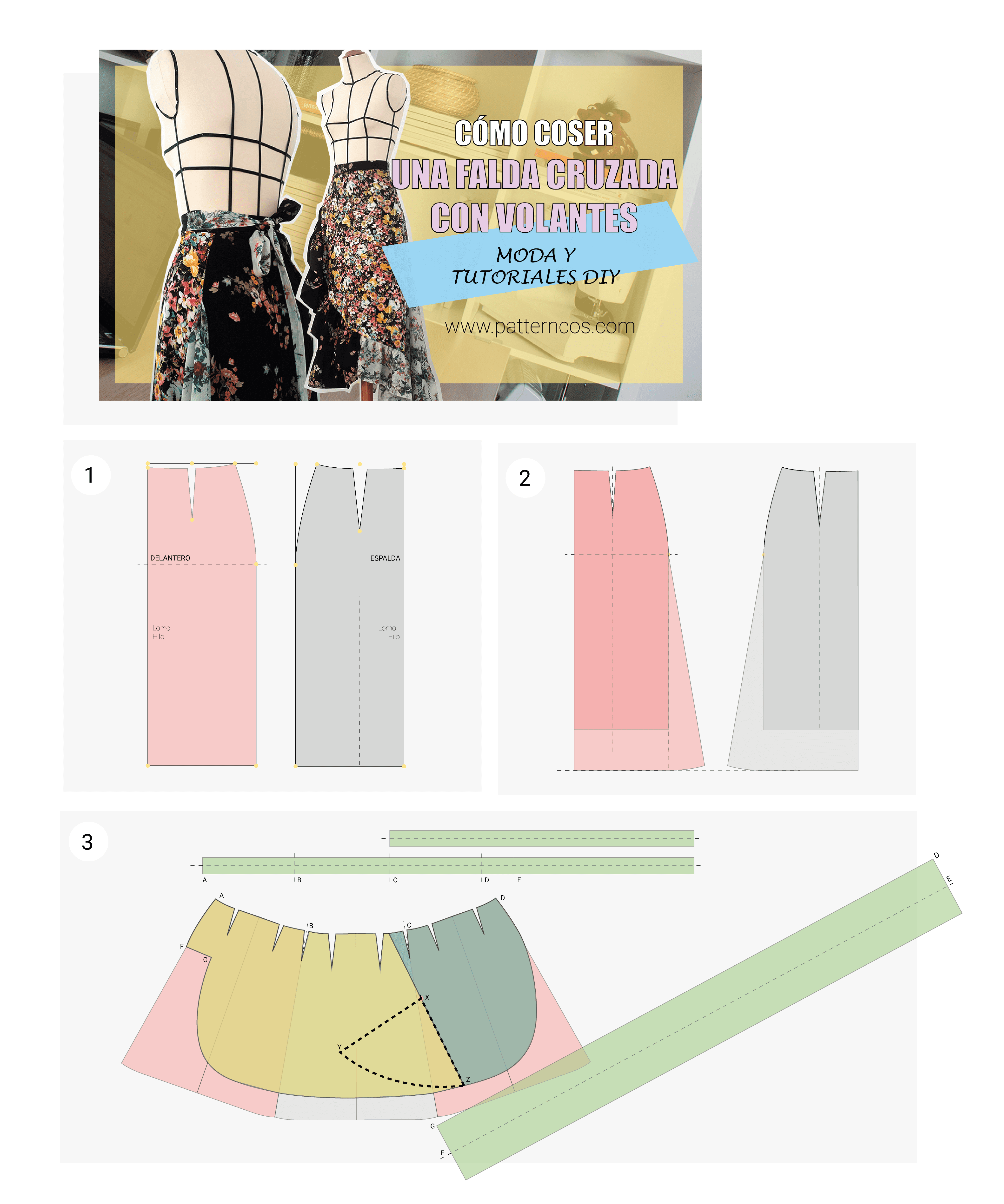 Falda floral cruzada con volantes DIY | Aprender a coser